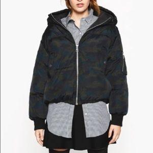 Zara Short Camouflage Anorak Puffer Jacket